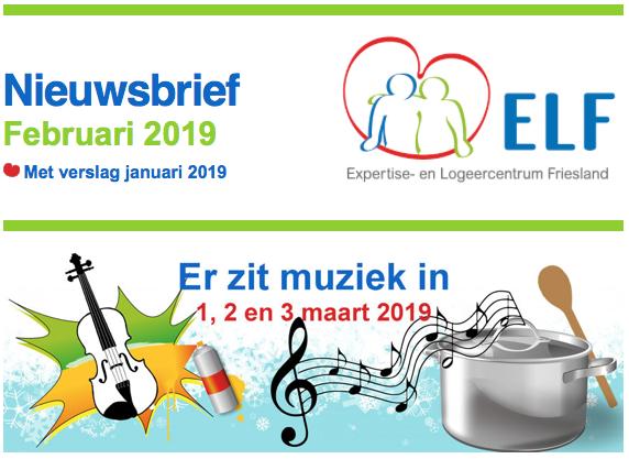 Het nieuws bij ELF van februari 2019 met nieuwe activiteiten in maart en verslag van januari