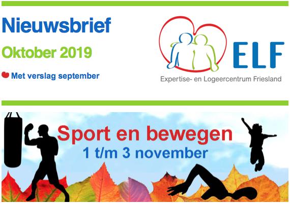 Nieuws van ELF in oktober met uitnodigingen voor ouderbijeenkomst en logeerweekend begin november, de logeerkalender 2020 en het verslag van het septemberweekend
