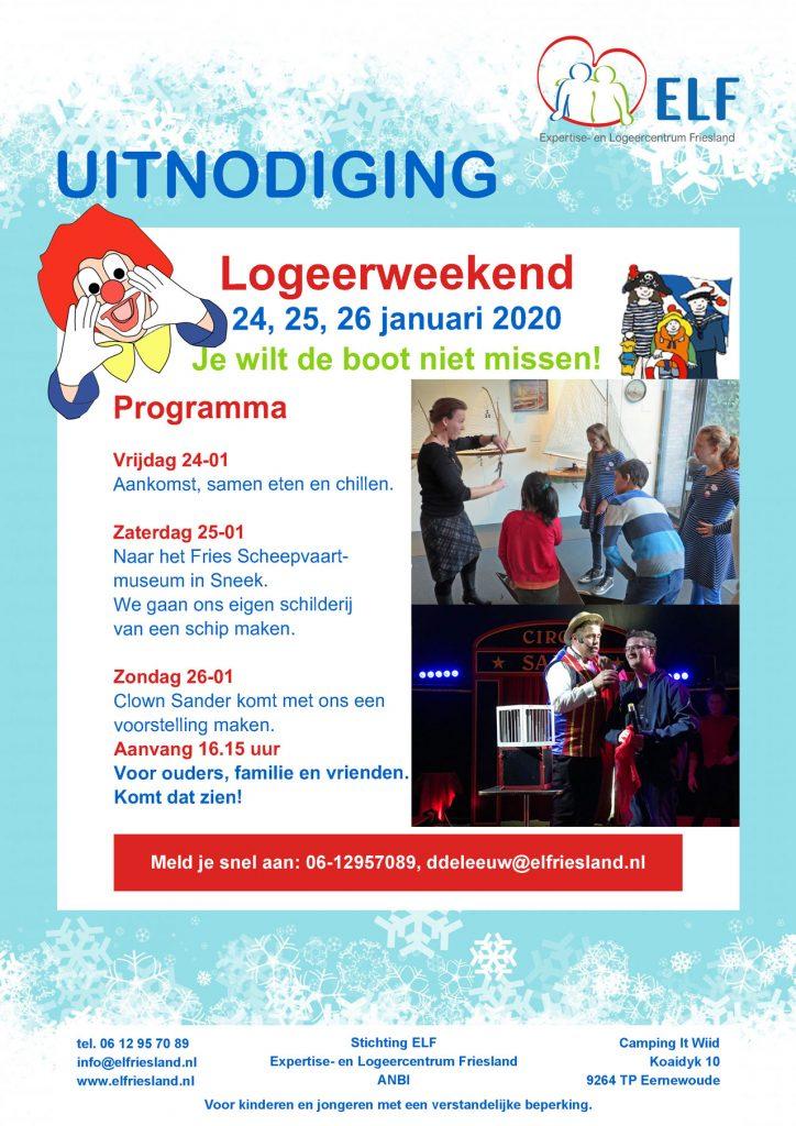 Uitnodiging voor het logeerweekend in januari 2020 bij ELF
