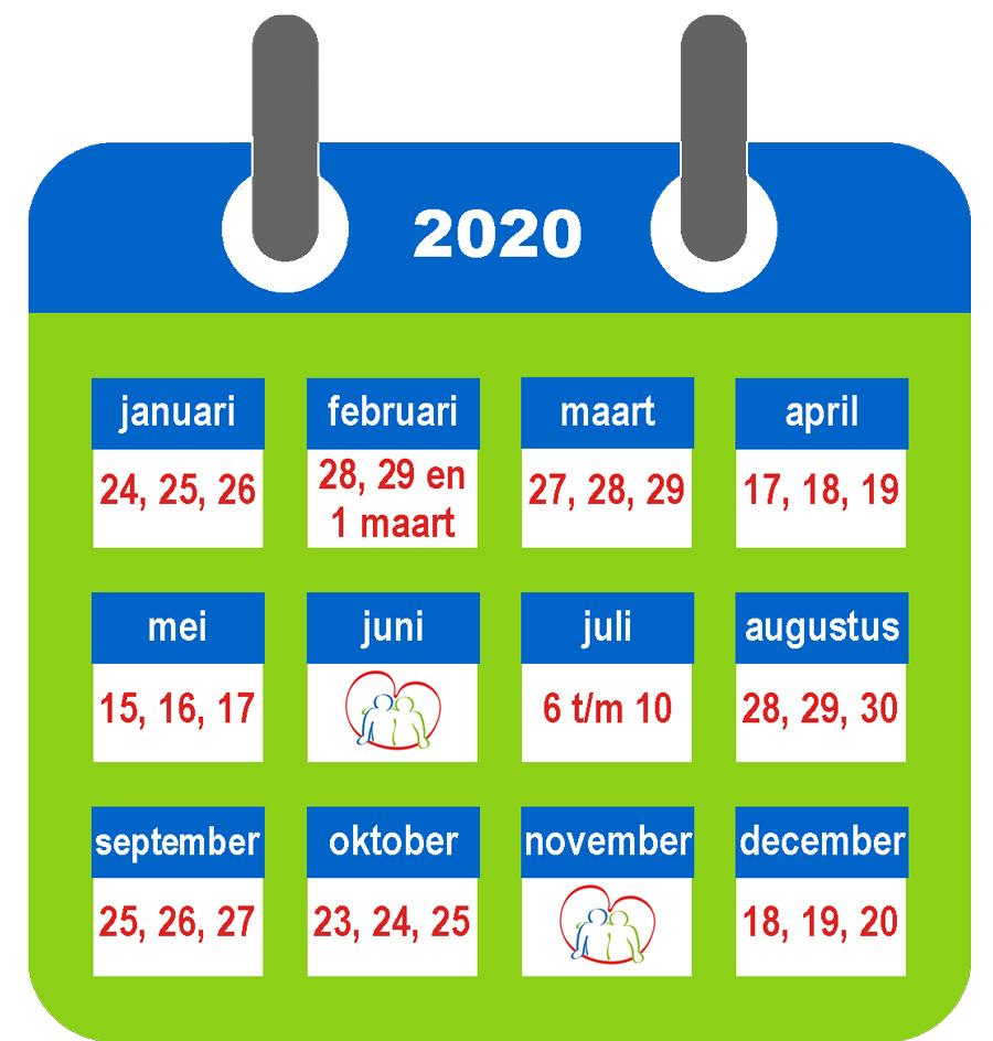 Logeerkalender 2020 met wijzigingen in de zomer